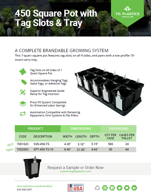 450 Square Pot with Tag Slots & Carry Tray